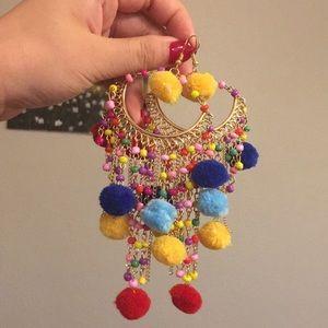Colorful fun Dangling Hoop Earrings